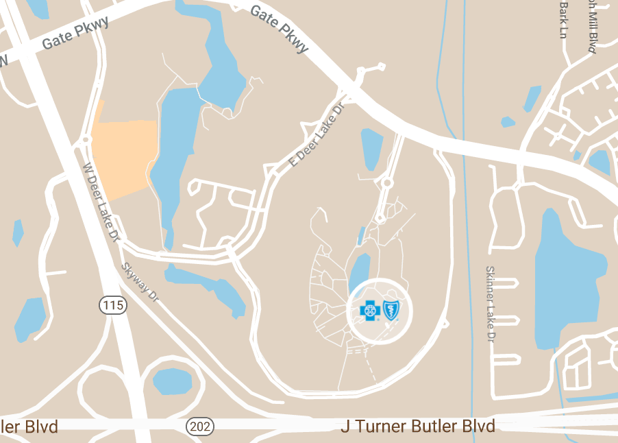 Map depicting the location of BCBSFL Conference Center