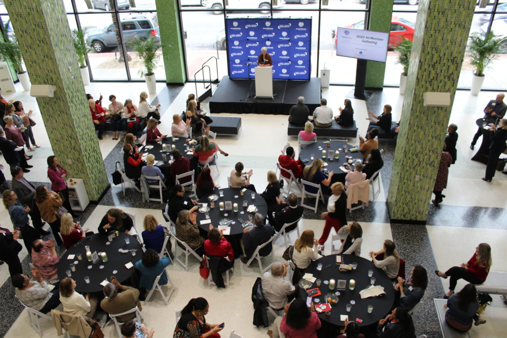 A view of the crowd at the 2020 All-Member Gathering as seen from the second floor of the Jessie Ball Dupont Center