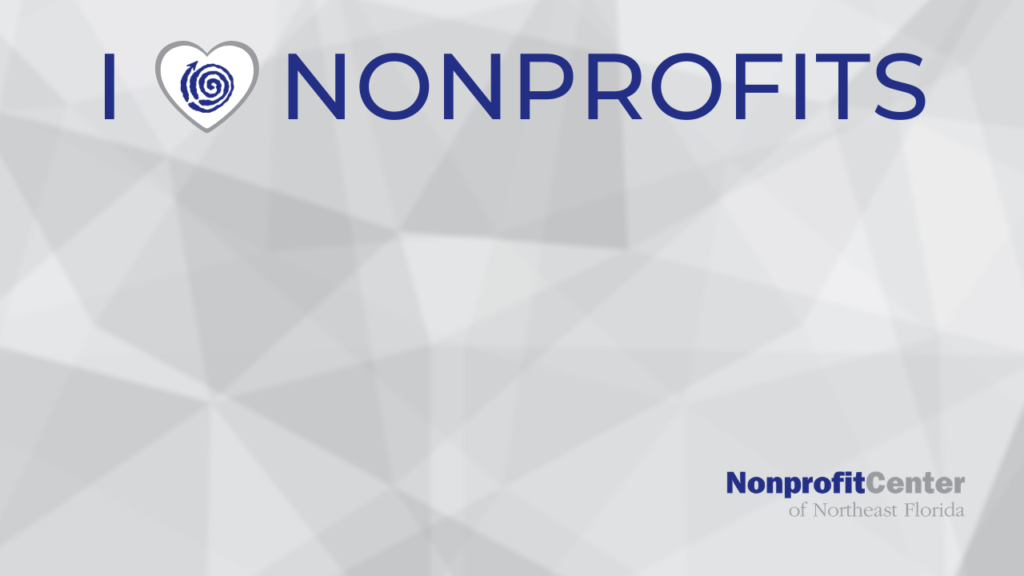 """Zoom background image. The background is abstract and grey. Across the top, the words """"I heart nonprofits"""" are in caps. The Nonprofit Center swirl logo is inside the heart. The Nonprofit Center text logo is in the bottom right corner."""