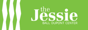 Logo for The Jessie Ball Dupont Center. The Logo is green with abstract geometric figures on the left side. The text is white on a green background.